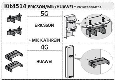 Kit adaptation support coulissant antenne 5G Ericson + MIK Kathrein + 4G Huawei